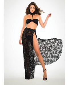 Adore Lace Bandeau Top & Skirt Black Lg
